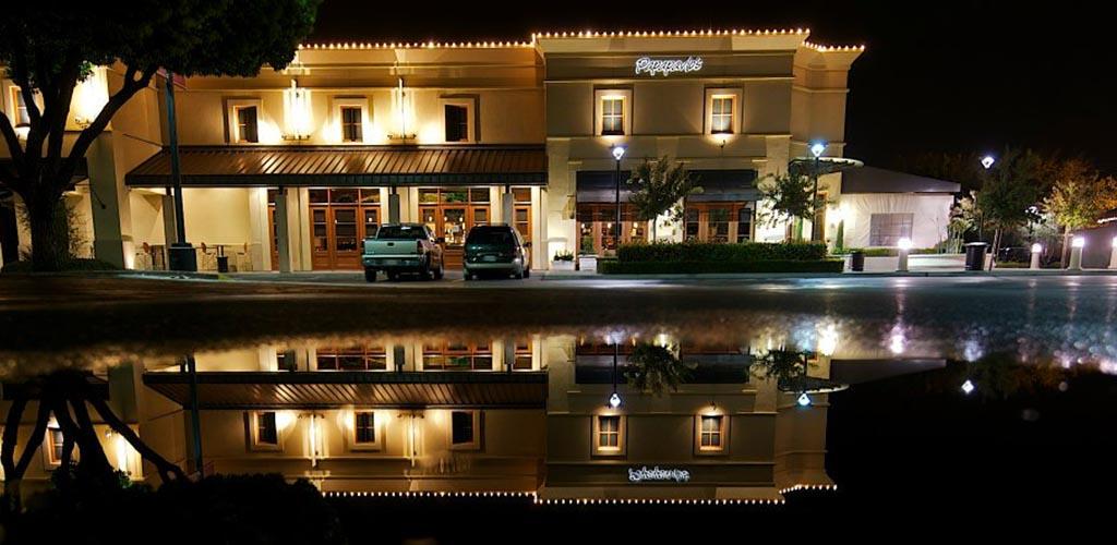 Papapavlo's Bistro exterior shot at night