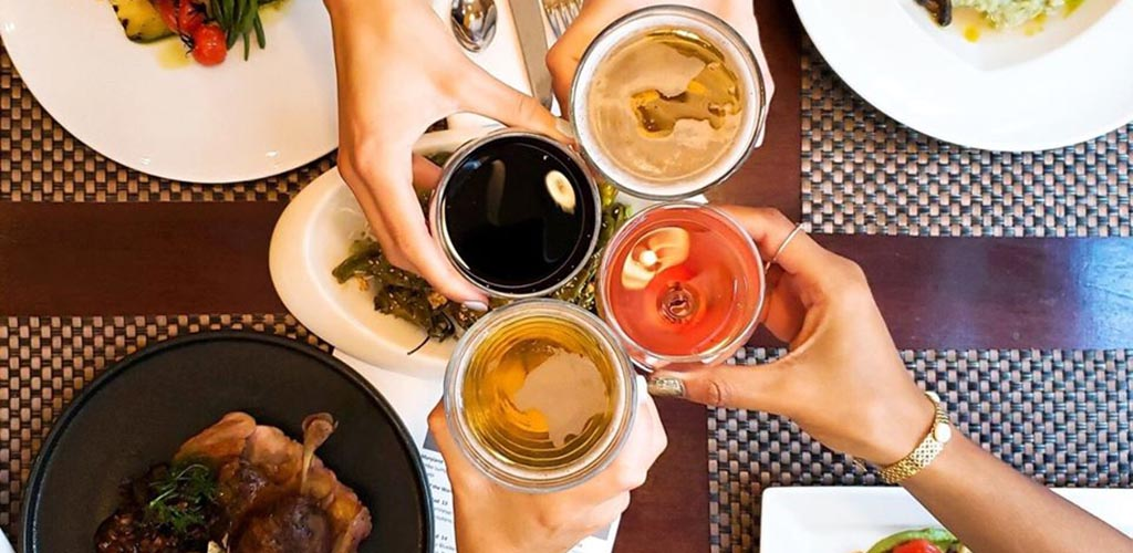 Top view of drinks and dishes from Marriott Downtown