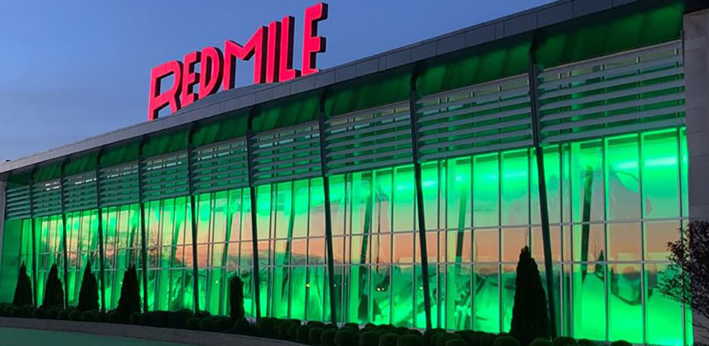 Exterior of The Red Mile at night