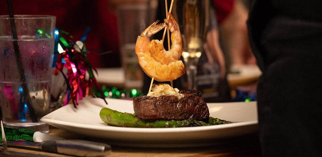 A steak and seafood dish from Sambuca