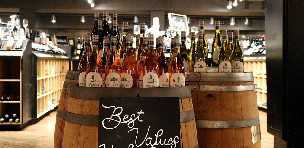 Different types of wine at Cellar Wine Store