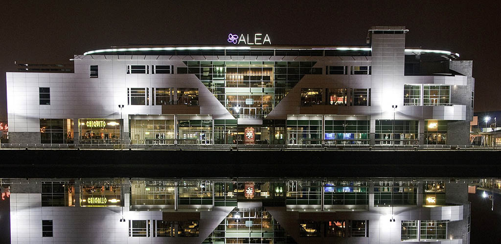 Exterior of Alea Casino Glasgow at night