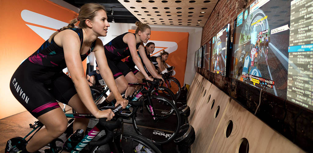 A cycling class at Ergo Cycling Fitness