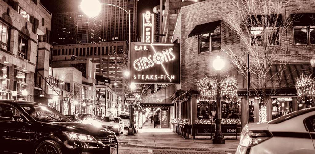 Gibson's Bar & Steakhouse at night