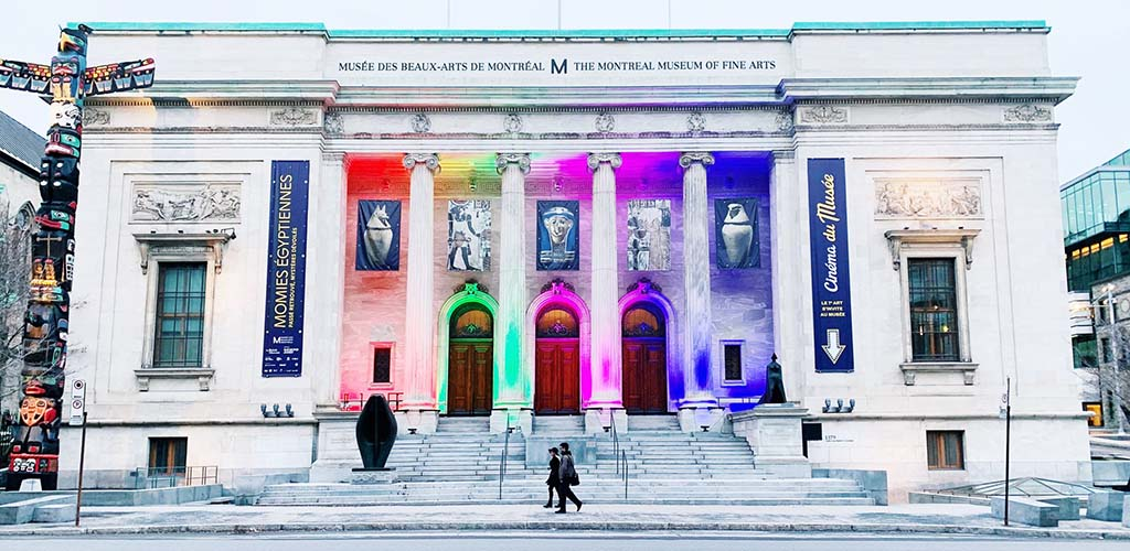 The colorful exterior of the Montreal Museum of Fine Arts