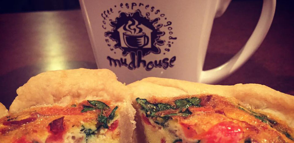 Quiche and coffee from Mudhouse Coffees