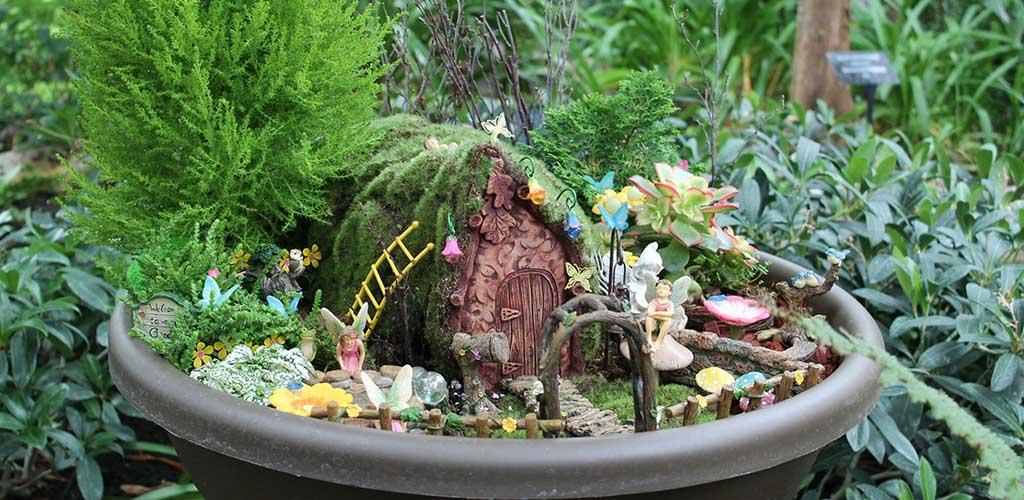 A mini garden at Muttart Conservatory