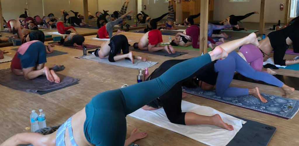 Ladies in a yoga pose at Orlando Power Yoga