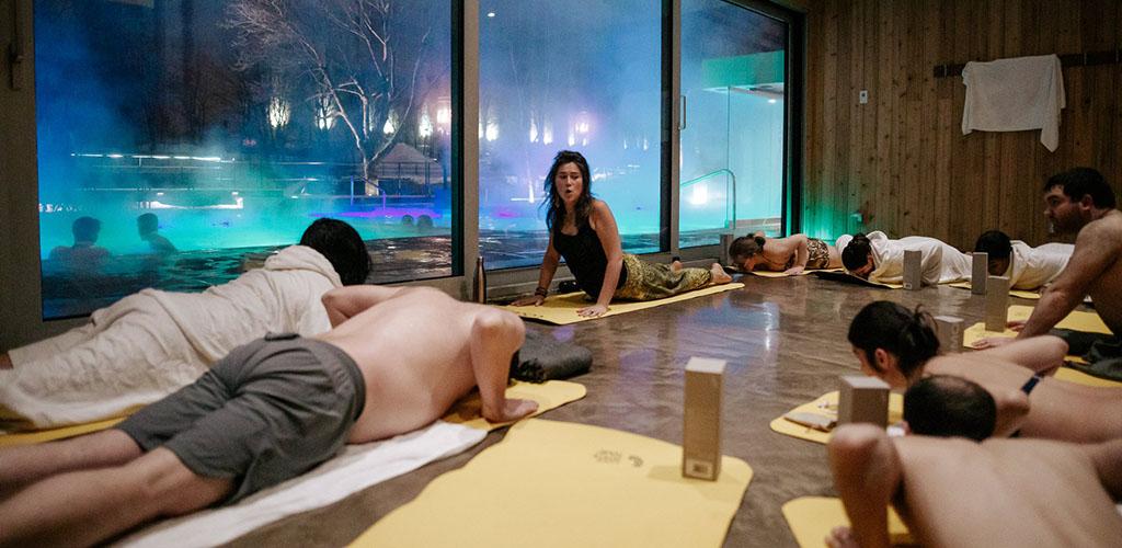 A hot yoga class at Bota Bota
