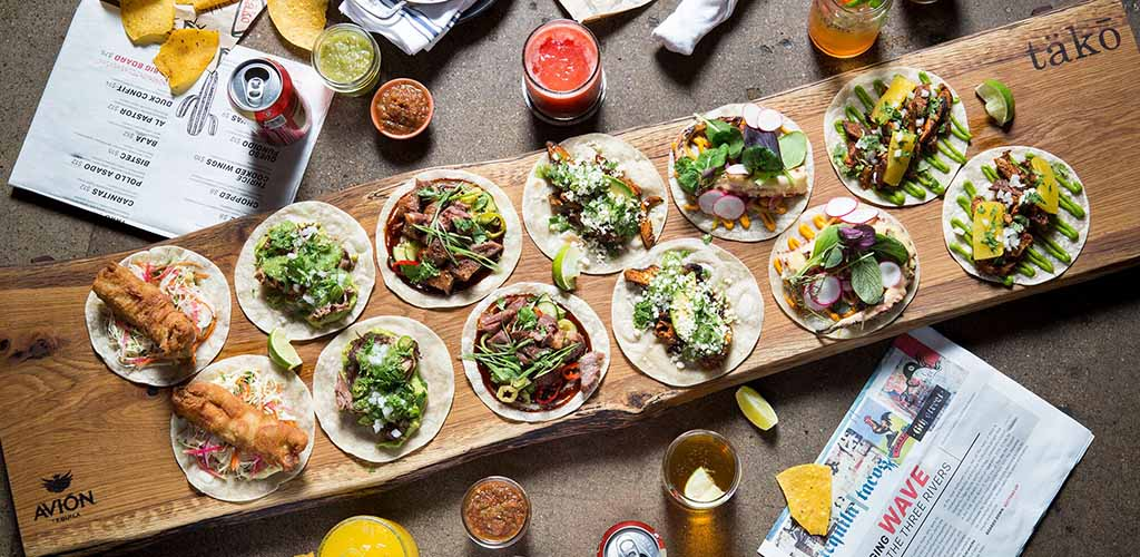 A variety of tacos from Tako