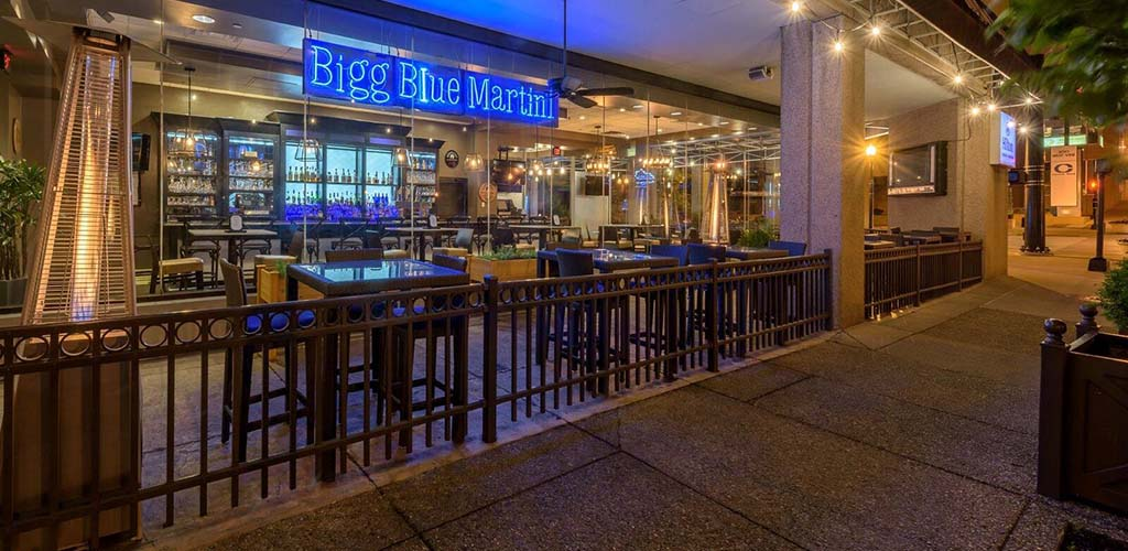 The Bigg Blue Martini in the evening