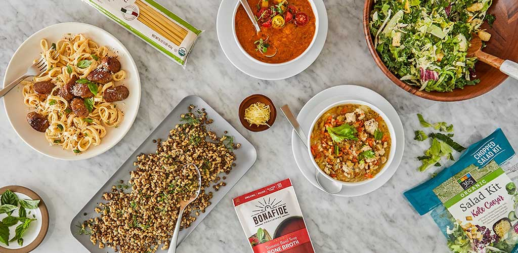 Top view of dishes made with ingredients from Whole Foods Market