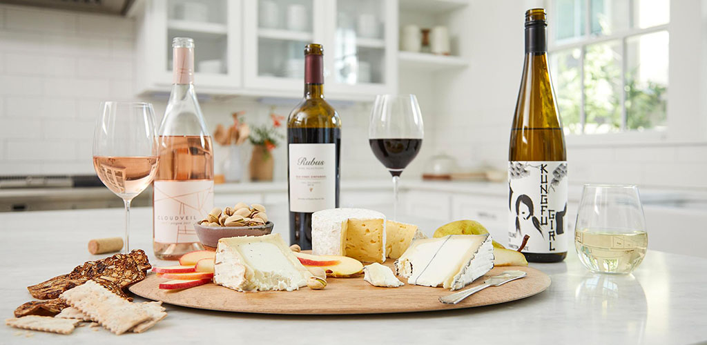 Cheese and wine from Whole Foods Market