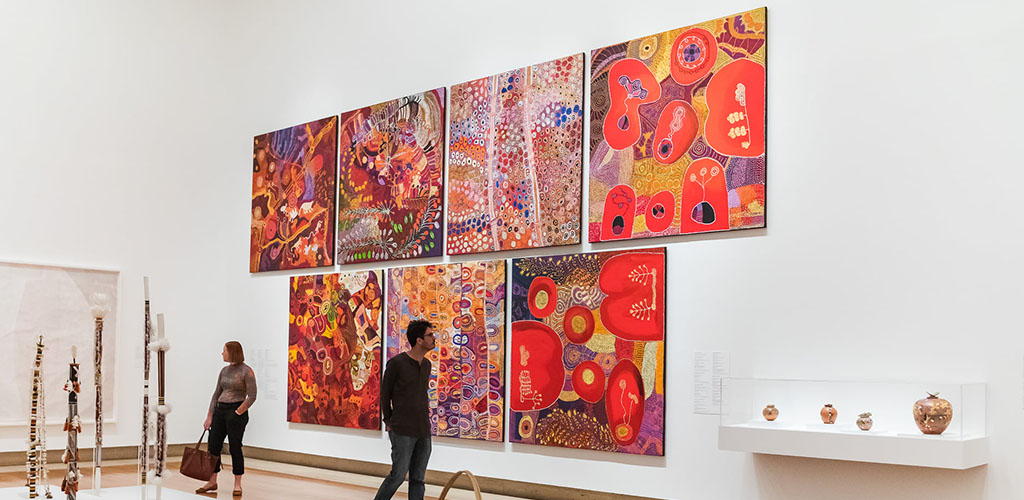 Colorful artwork on display at the Queensland Art Gallery