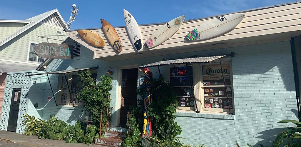 The surfboards on display at Surf Bar on the Edge