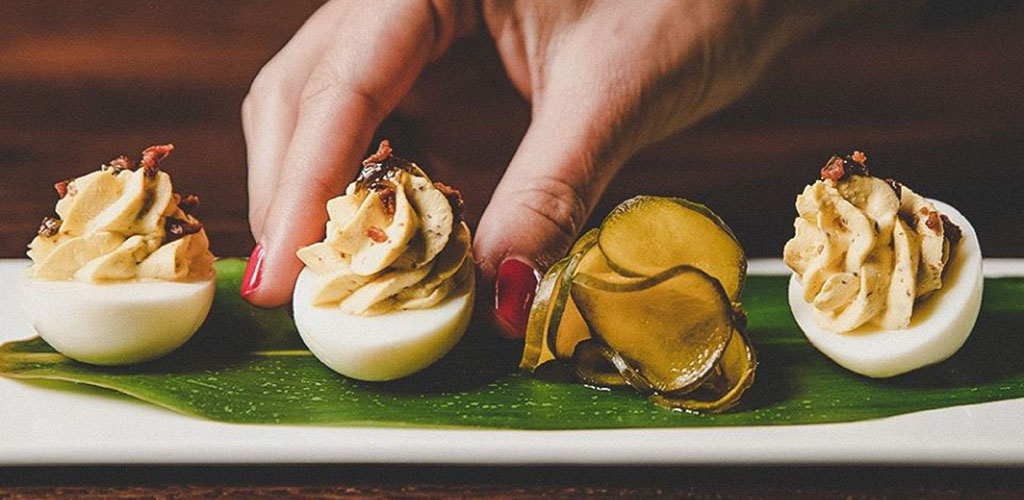 Deviled eggs, the specialty of The Bombay Club