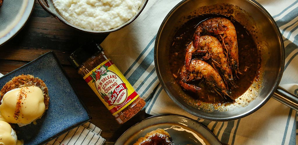 Dishes from The New Orleans School of Cooking featuring their signature spice