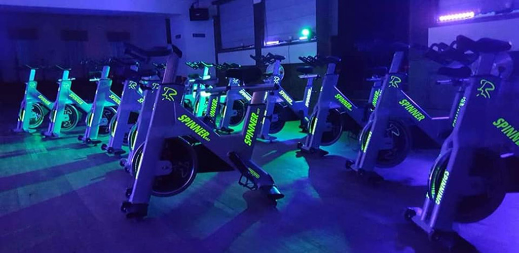 Stationary bikes at Yoga and Spin