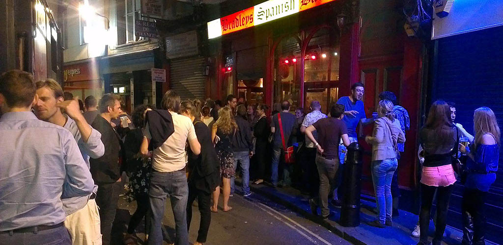 People lined up outside Bradley's Spanish Bar