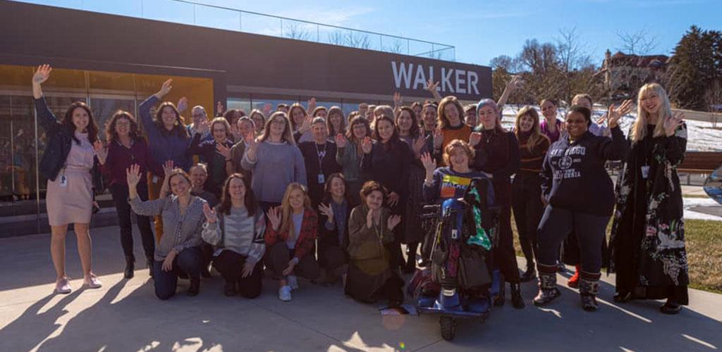 A tour group at Walker Art Museum