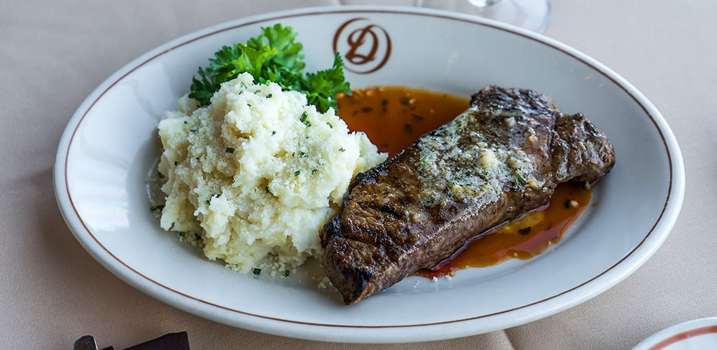 Steak and mashed potatoes from Seattle Skyline