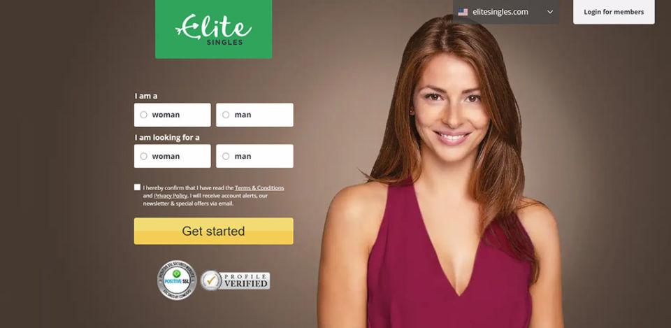 Elite Singles landing page
