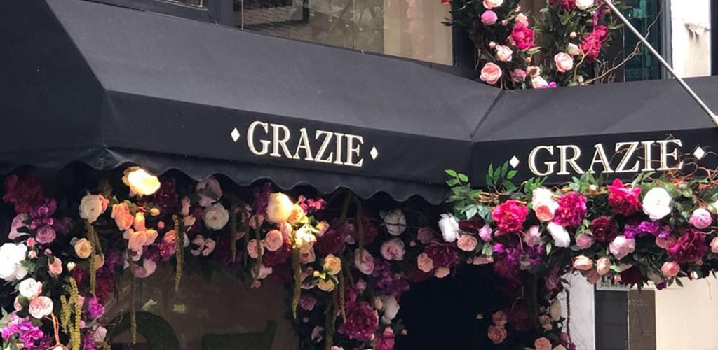 The awning at Grazie