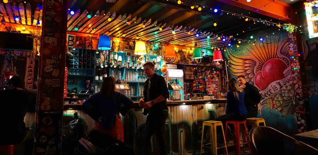 The colorful interiors of Golding's Free Dive Bar