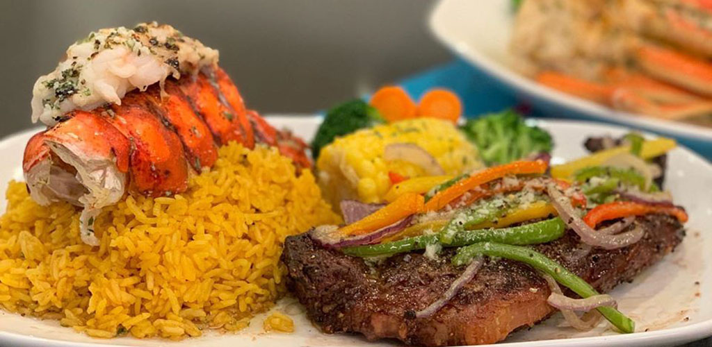 A delicious steak and seafood dish from South Beach Grill