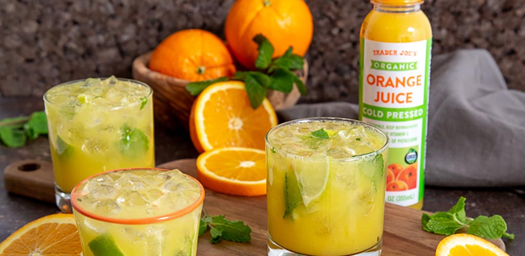 Fresh organic orange juice from Trader Joe's