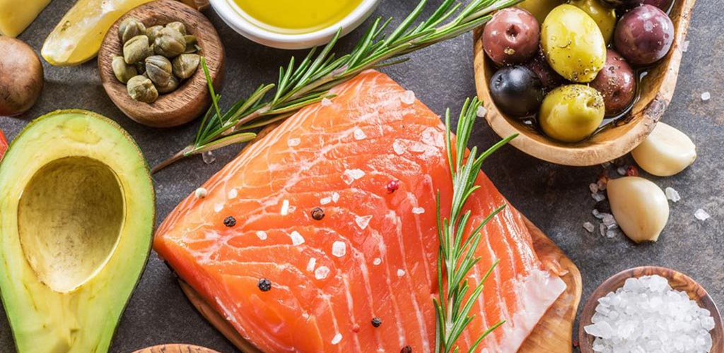 Fresh salmon, produce and spices from Fairway Market