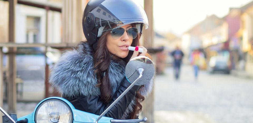 Italian MILF putting on lipstick