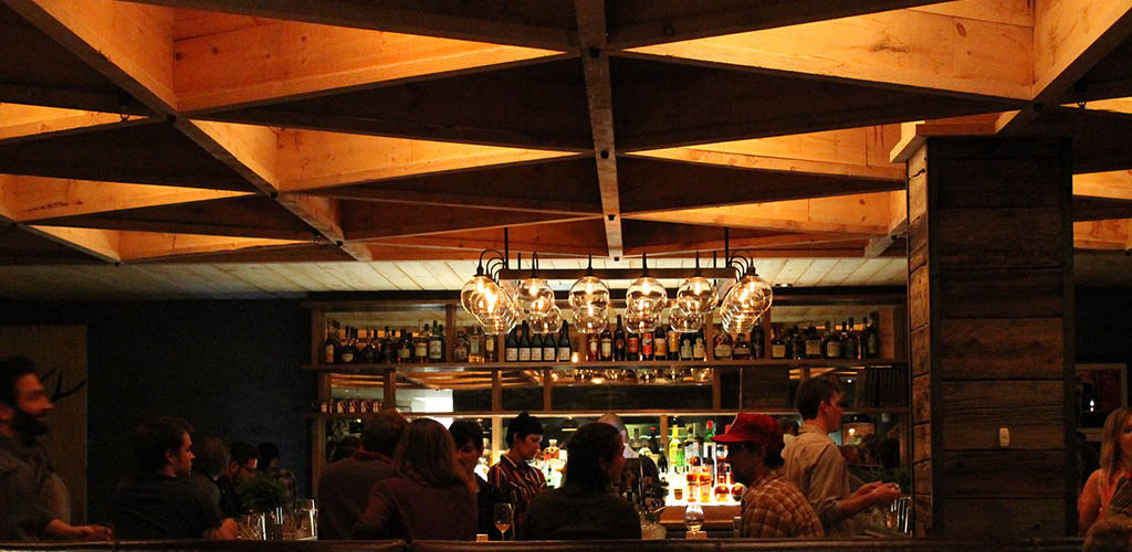 The dark and intimate bar area of Hen of the Wood