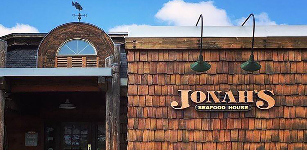 The wooden exterior of Jonah's Seafood House