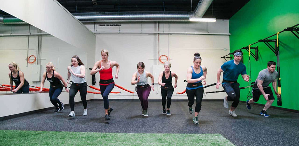 Ladies working out at REV Studio