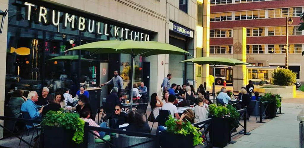 The patio full of people at Trumbull Kitchen
