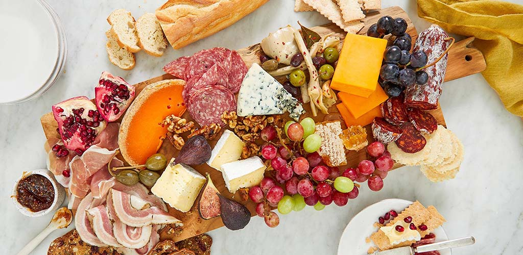 A charcuterie board with ingredients from Whole Foods Market