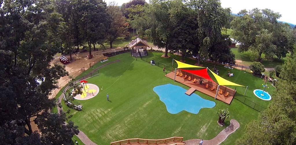 Aerial view of Beau's Dream Dog Park at Buchanan Park