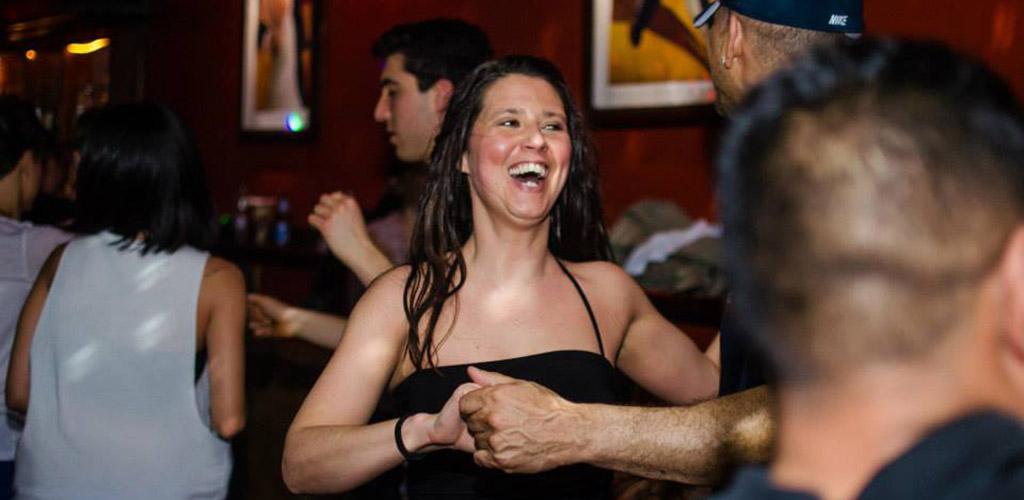 Having fun during a dance class at Brasil's Nightclub