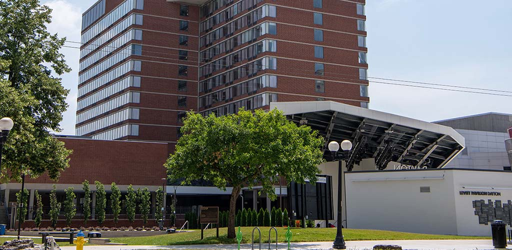 The exterior of Crowne Plaza Dayton