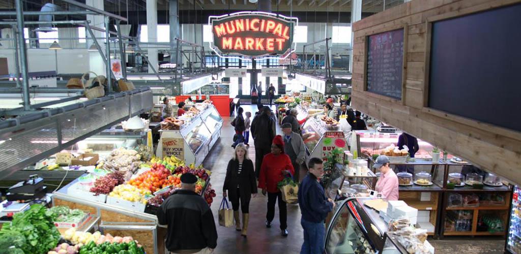 A crowd of shoppers in Farmers Market Valdosta