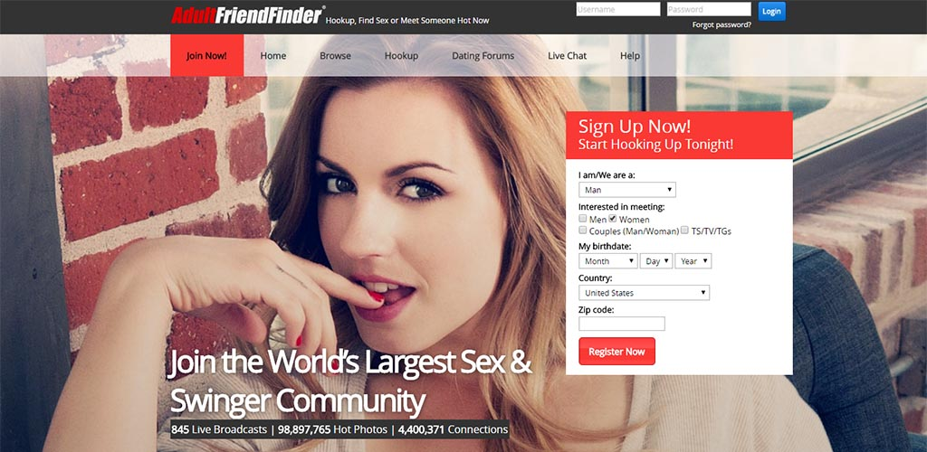 Homepage for Adult Friend Finder