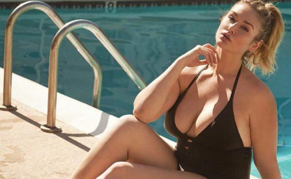 Blonde BBW MILF in black bathing suit