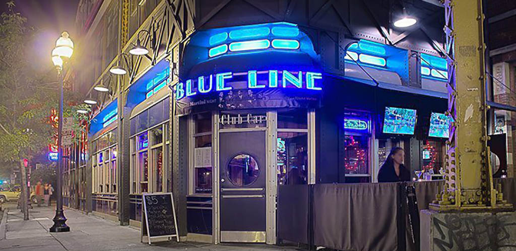 Entrance to Blue Line Lounge Grill