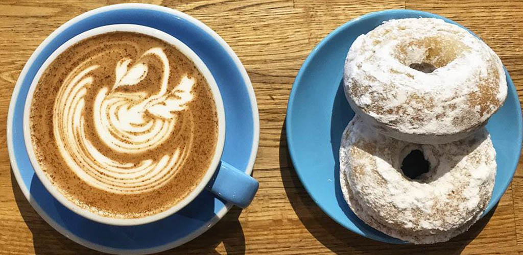 Coffee and powdered sugar donuts from Wormhole