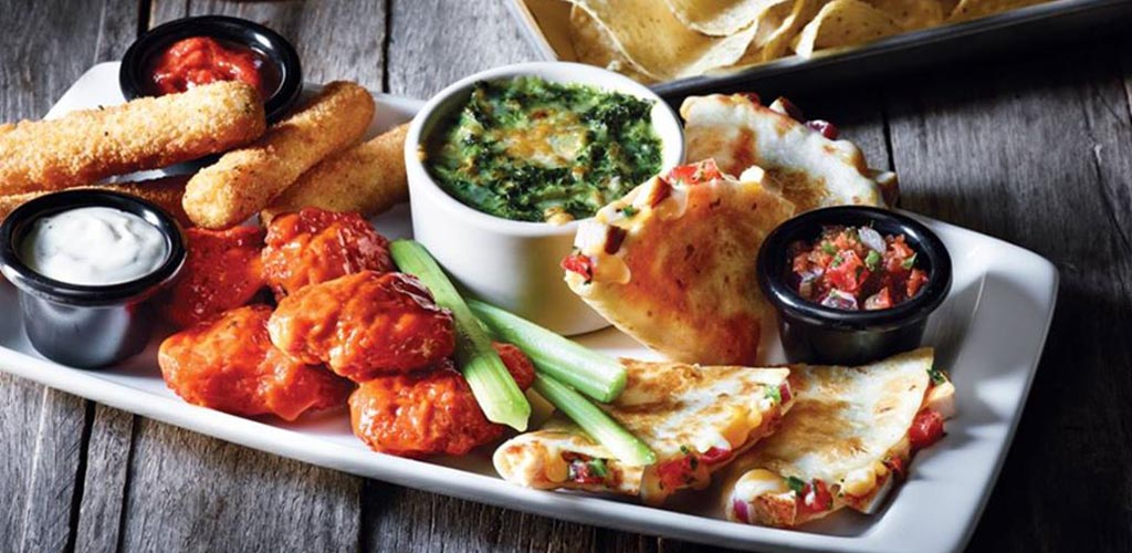 Appetizers and dip from Applebees