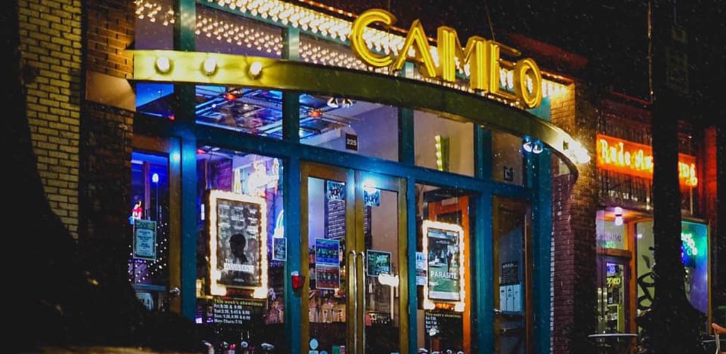 Outside the Cameo Art House Theatre at night