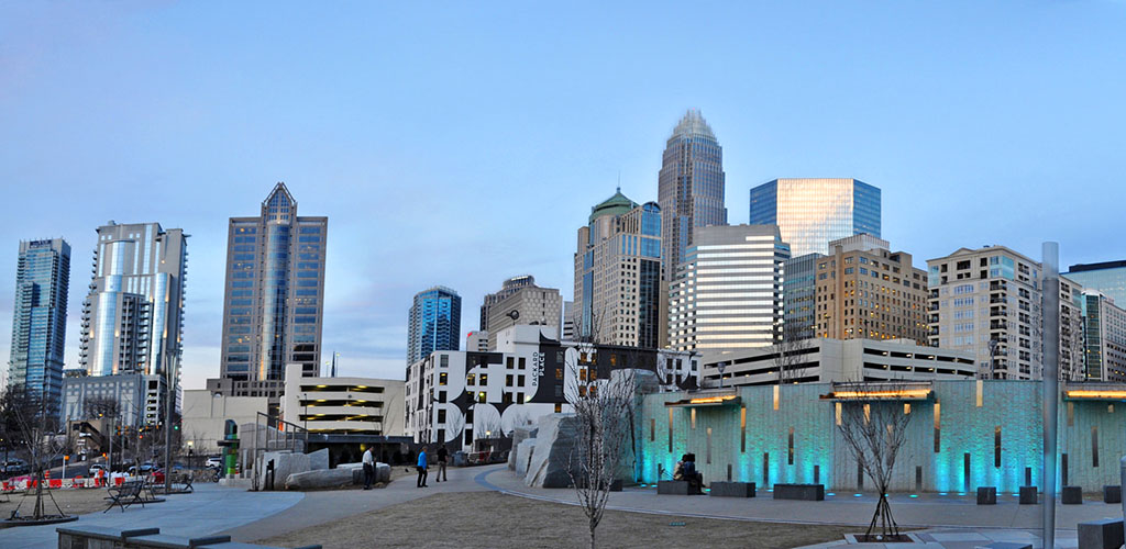 The Charlotte skyline viewed from Romare Bearden Park