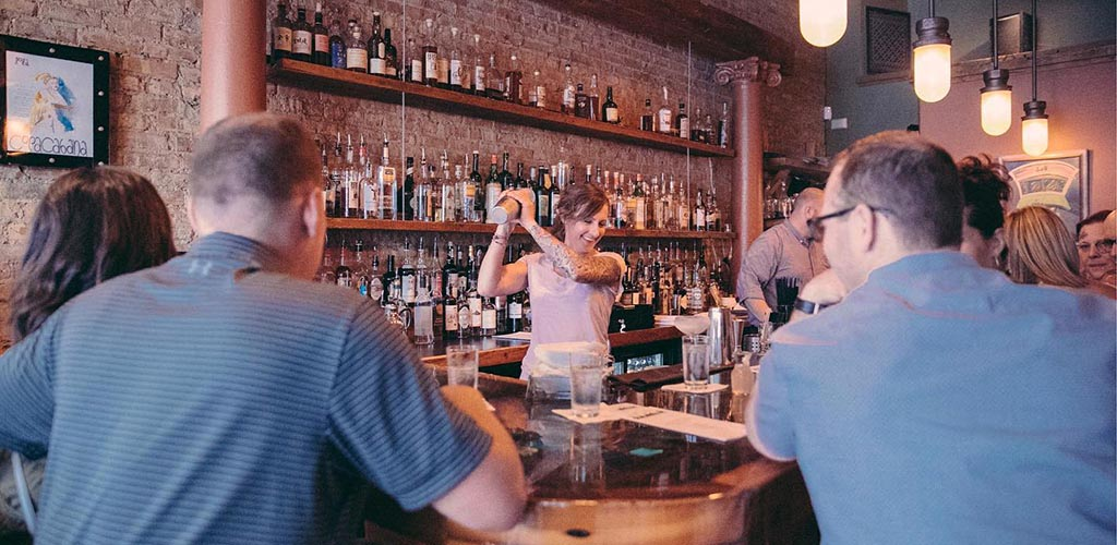 Mixing drinks in Social Urban Bar and Restaurant