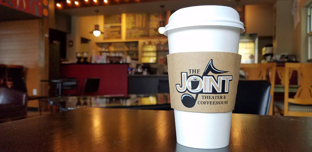 A cup of coffee from The Joint Theater and Coffeehouse